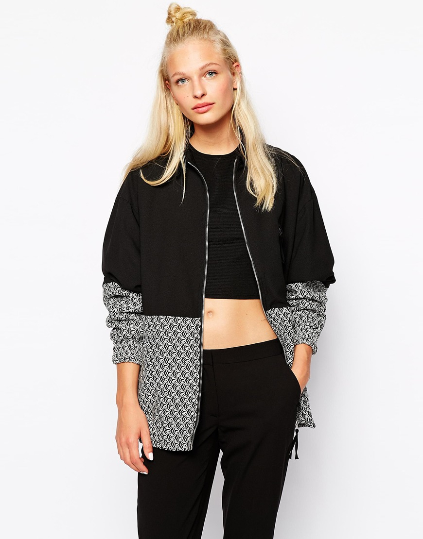 Monki Printed Block Colour Bomber Jacket in Gray | Lyst