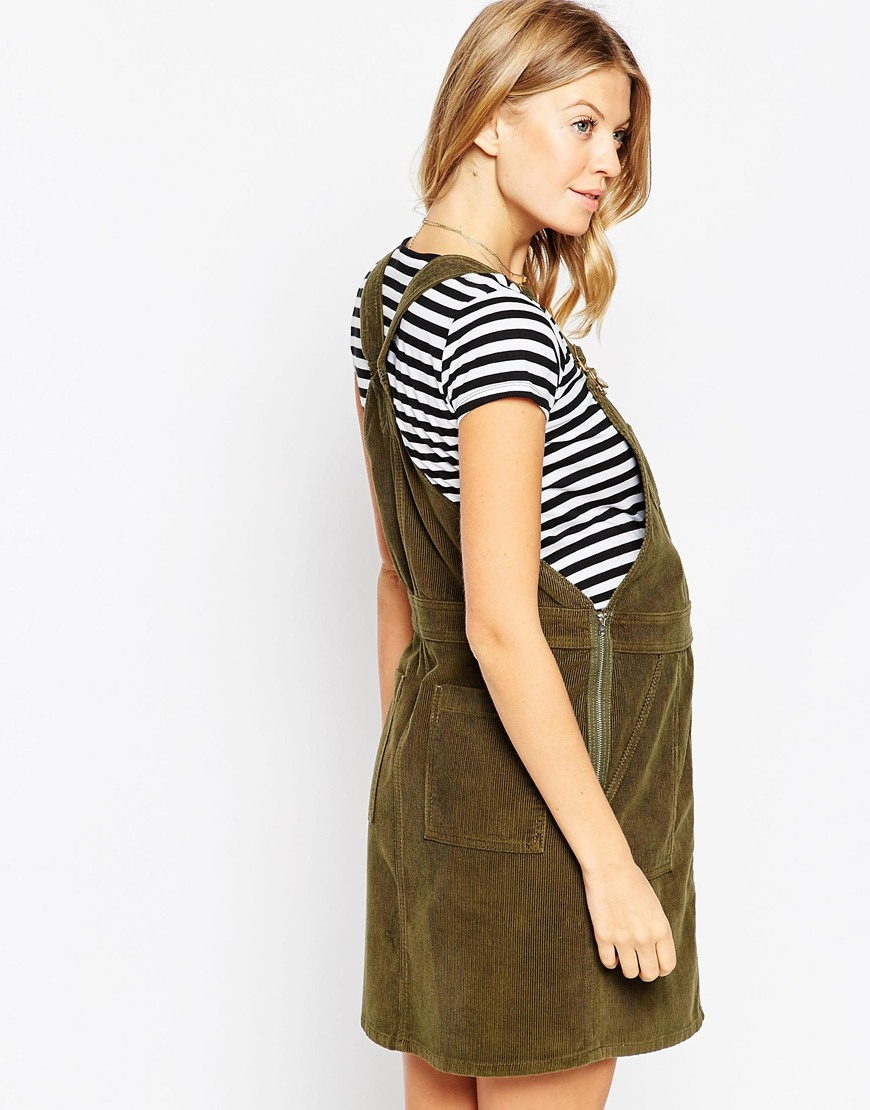 Asos button down pinafore dress in cord in green lyst gallery ombrellifo Choice Image