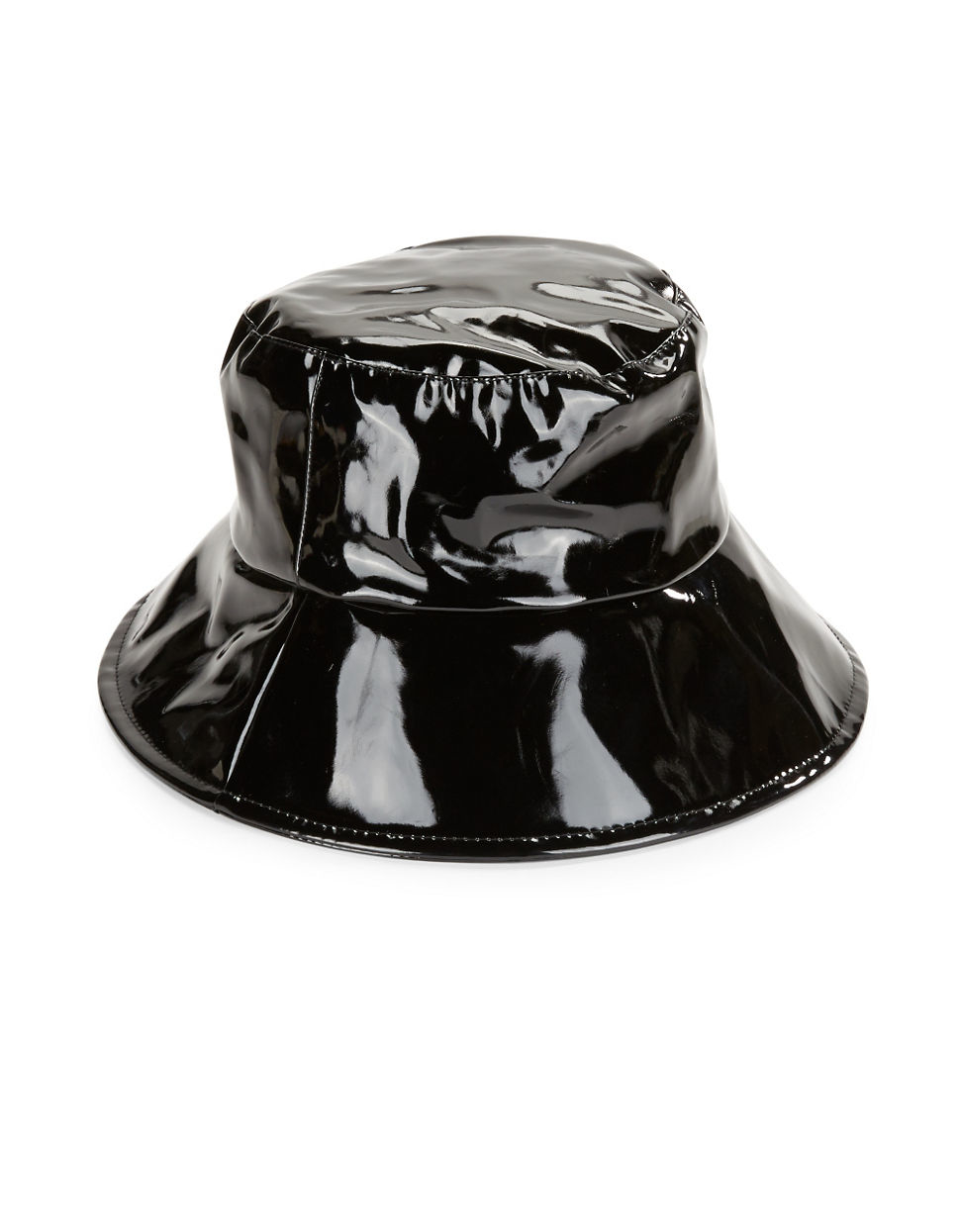 August Accessories Faux Patent Leather Bucket Hat in Black - Lyst b7f2a17b1d8
