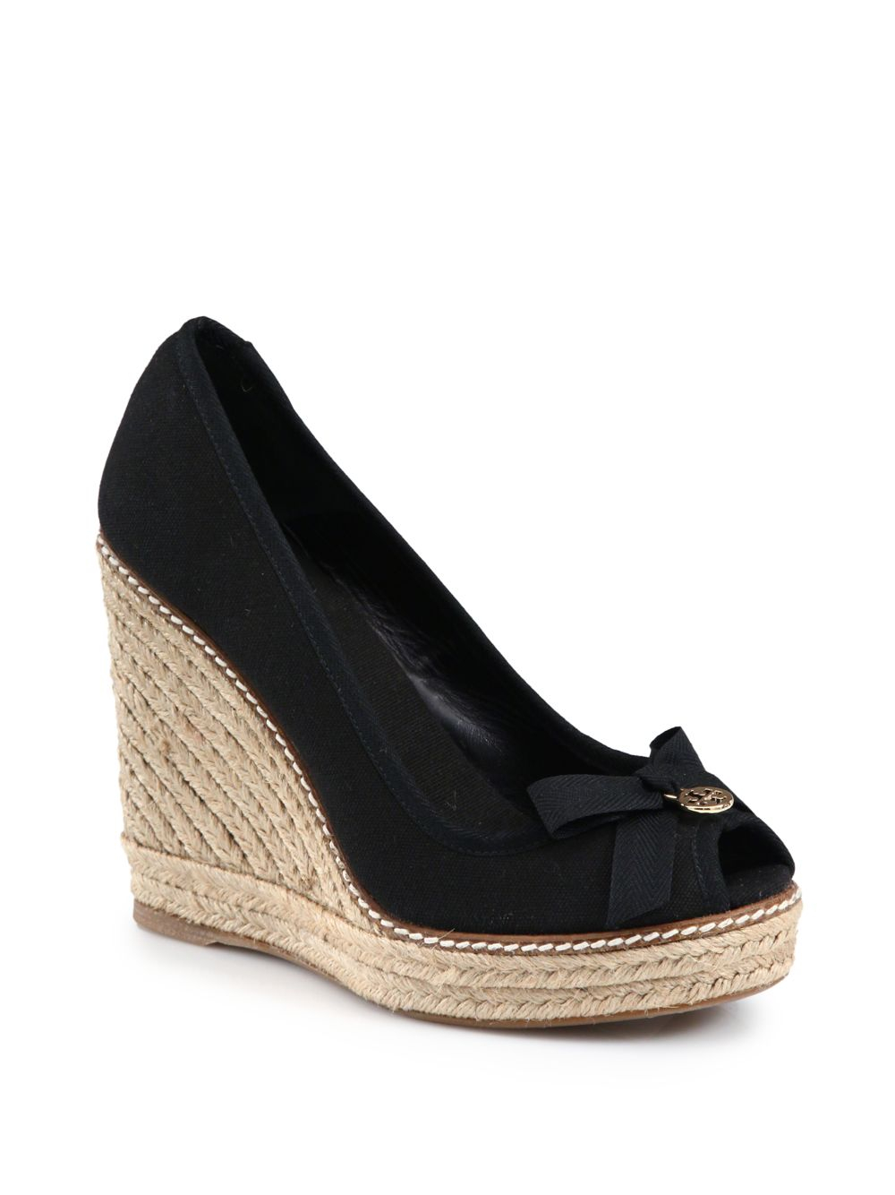 52666e31a657 Lyst - Tory Burch Jackie Canvas Espadrille Wedges in Black