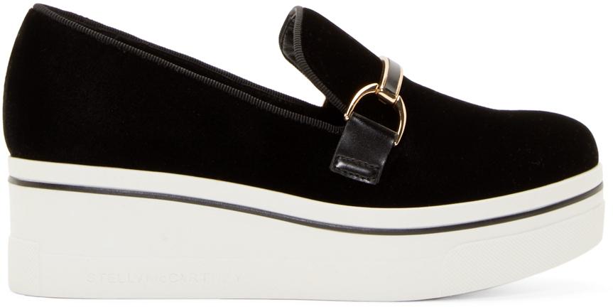 Lyst Stella Mccartney Black Velour Platform Binx Loafers