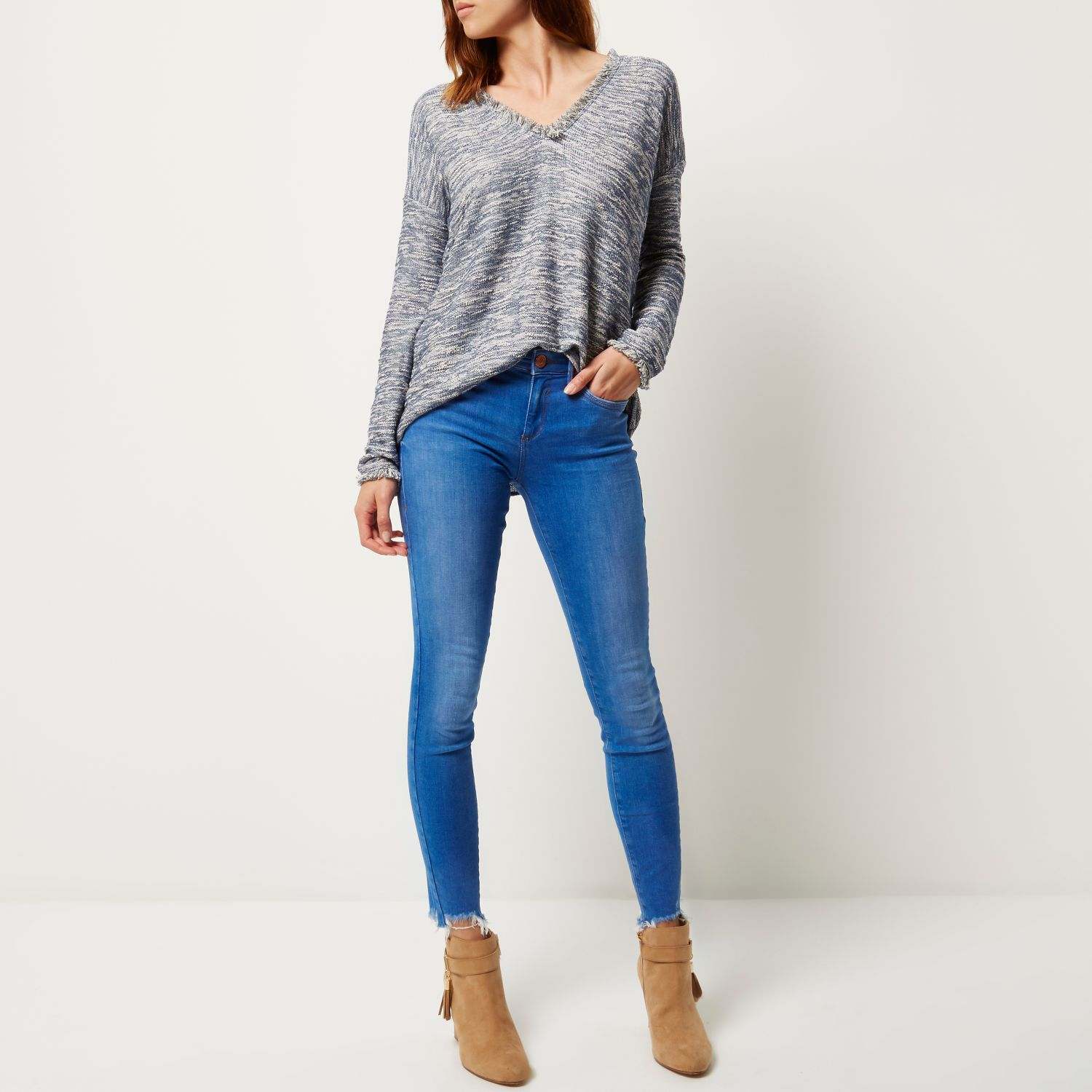 River Island Bright Ripped Hem Amelie Superskinny Jeans In