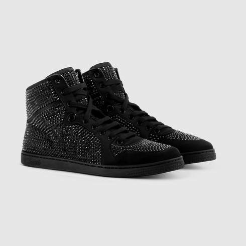 7dc9e180bcd Lyst - Gucci High-top Sneaker With Crystal Studs in Black for Men