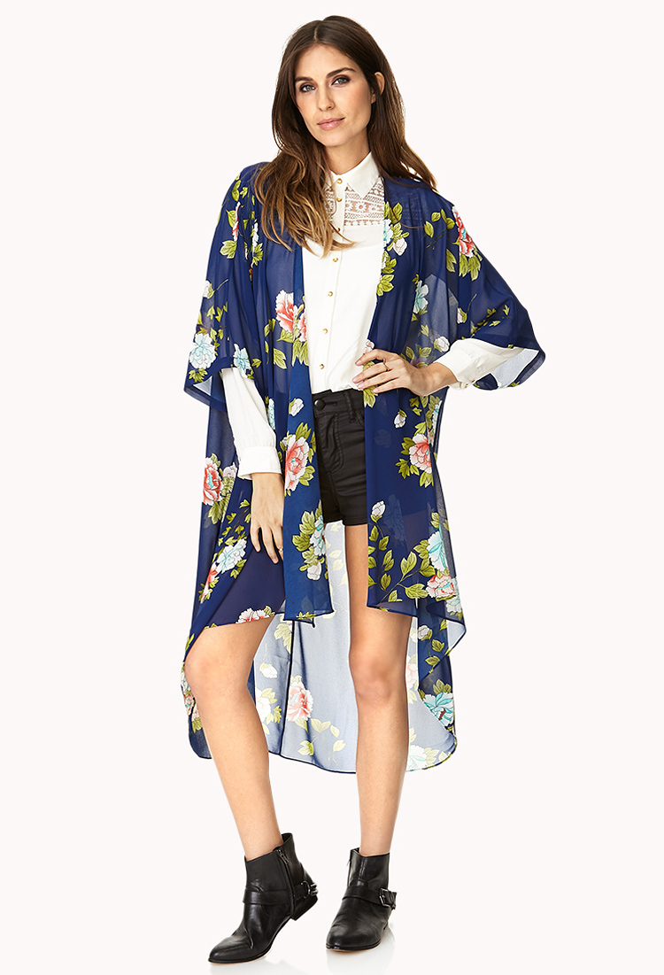 Forever 21 Whimsical Floral Kimono in Blue | Lyst