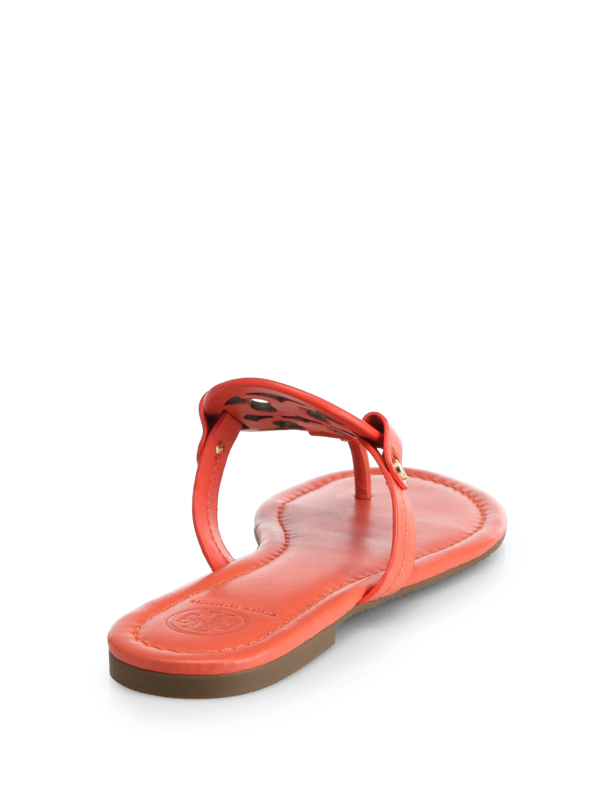 Lyst Tory Burch Miller Leather Logo Thong Sandals In Orange