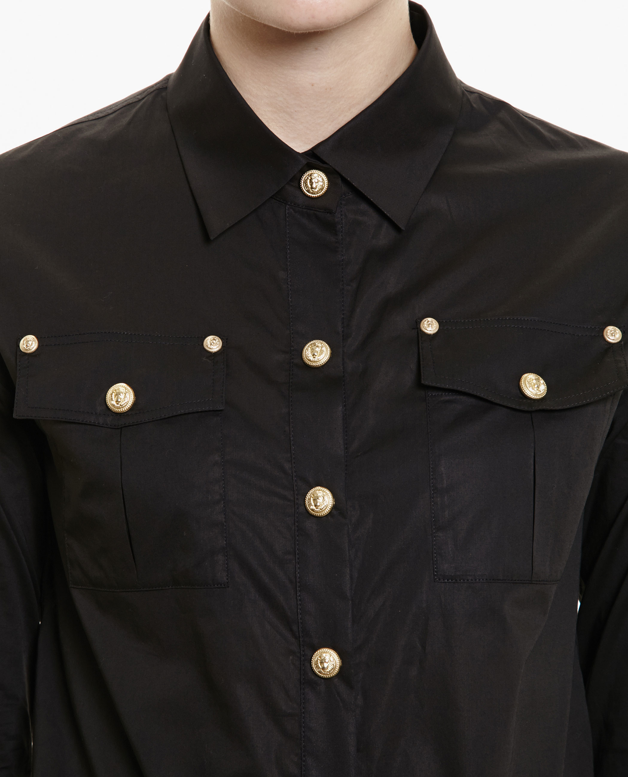 Balmain Shirt With Gold Buttons in Black | Lyst