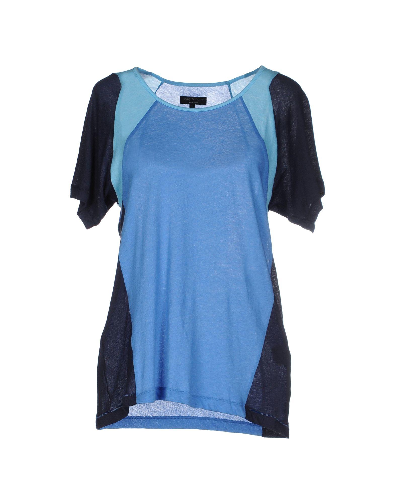 Rag bone t shirt in blue lyst for Rag and bone t shirts