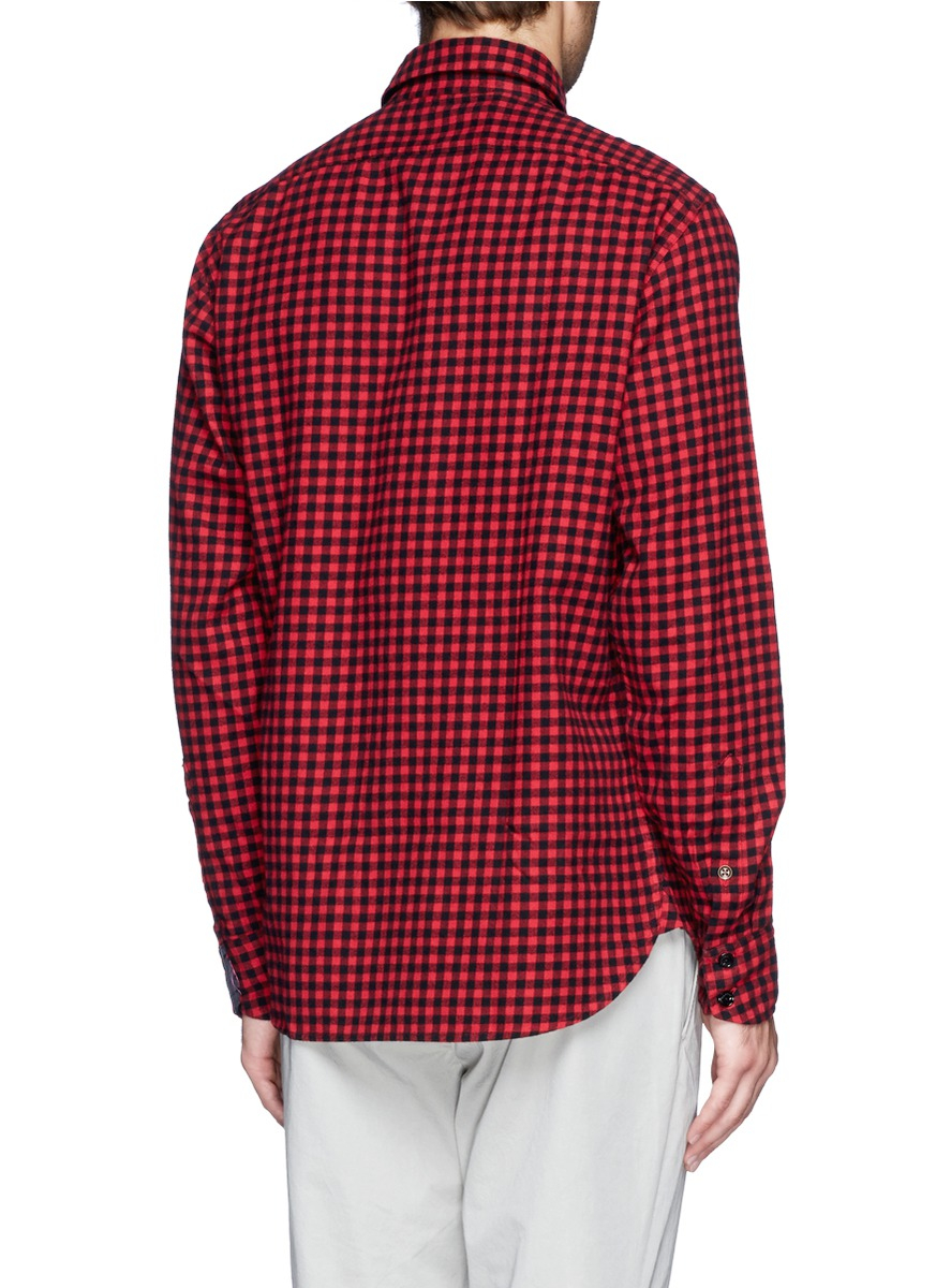 Lyst rag bone gingham check shirt in red for men for Pink checkered dress shirt