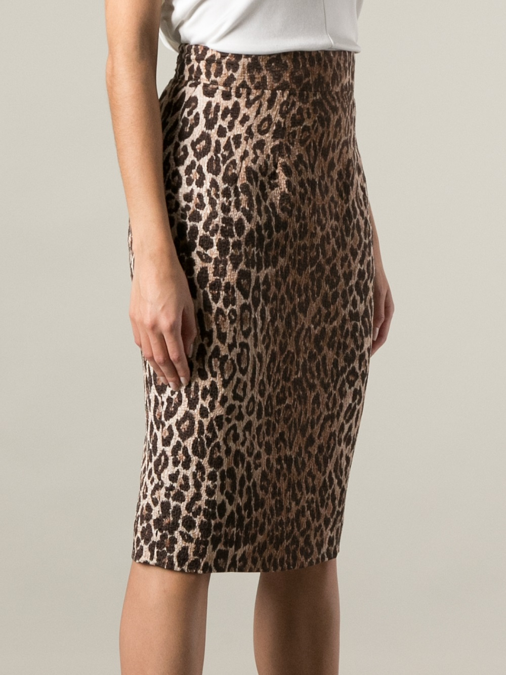 Dolce & gabbana Leopard Print Pencil Skirt | Lyst