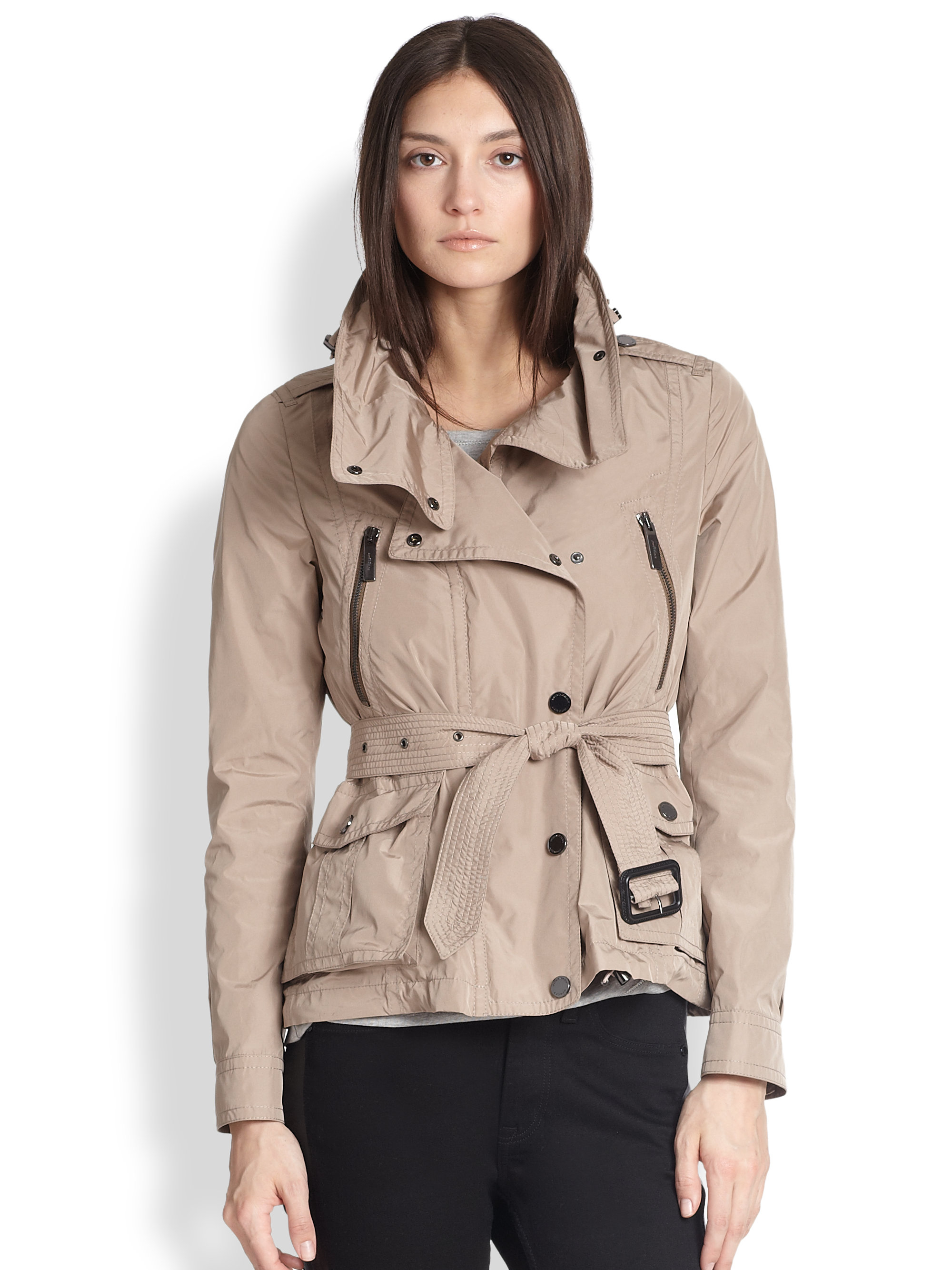 Burberry Short Motorcycle Trench In Brown (PALE TAUPE)