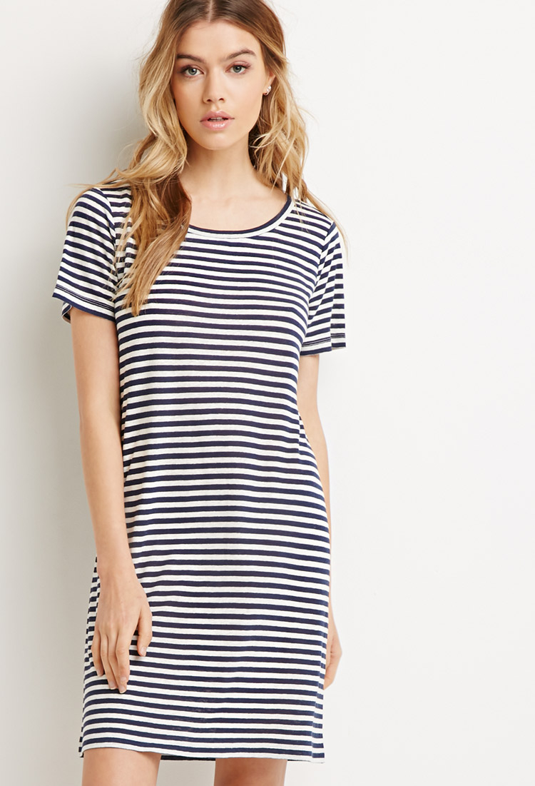 Lyst forever 21 striped t shirt dress in blue for Blue striped dress shirt