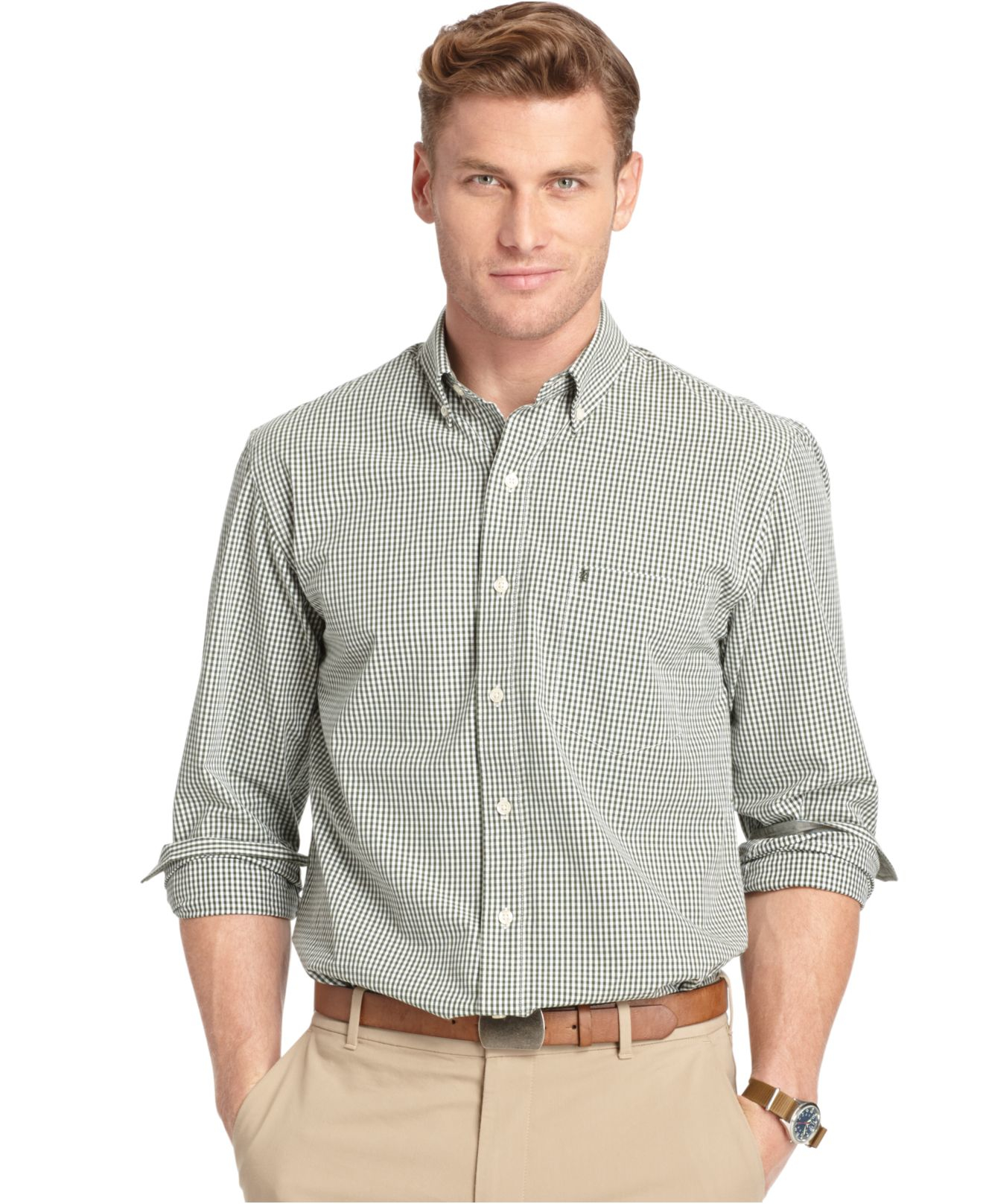 Lyst izod long sleeve gingham button down shirt in green for Mens green gingham dress shirt