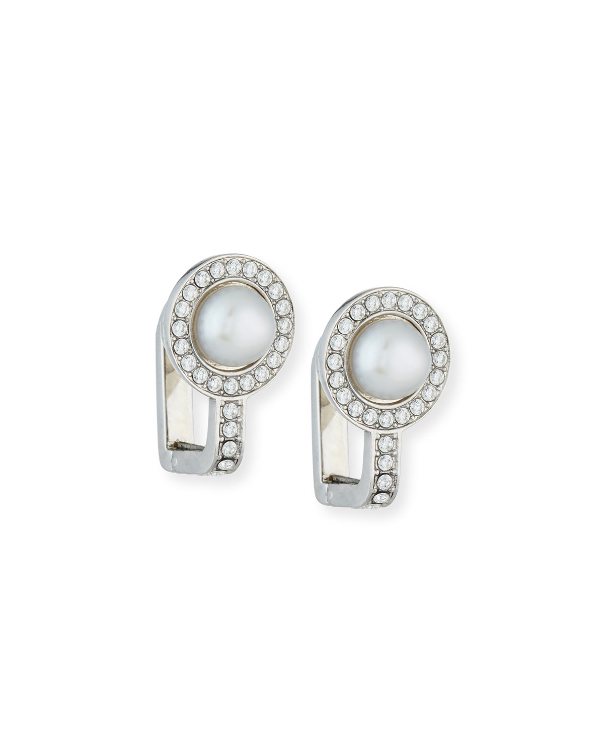 lyst balenciaga small pearl crystal clip on earrings. Black Bedroom Furniture Sets. Home Design Ideas