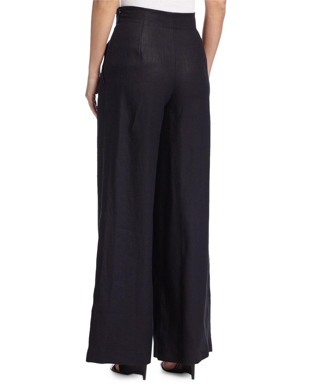 Lafayette 148 new york Ludlow Wide-leg Twill Pants in Black | Lyst