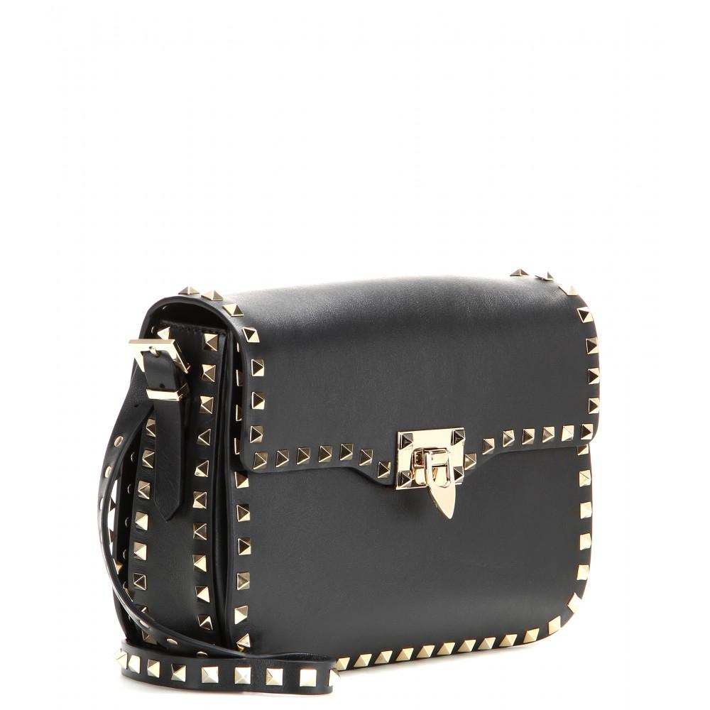 lyst valentino rockstud leather shoulder bag in black. Black Bedroom Furniture Sets. Home Design Ideas