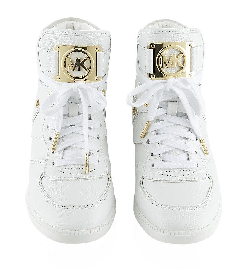 michael michael kors nikko leather high top sneaker in white lyst. Black Bedroom Furniture Sets. Home Design Ideas