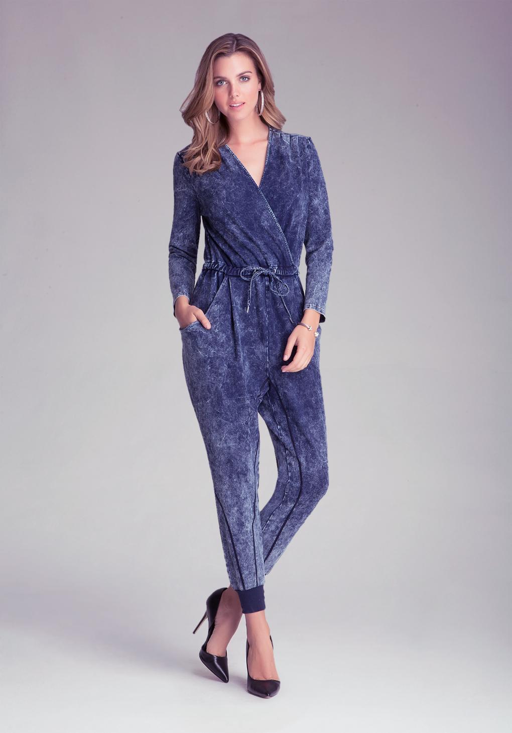 Bebe denim knit jumpsuit in blue lyst gallery ombrellifo Images