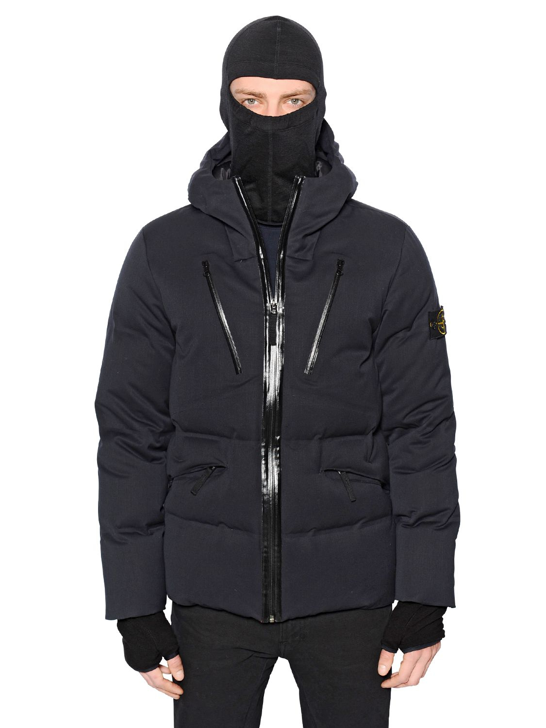 Stone island Waterproof Hooded Wool Down Jacket in Blue for Men | Lyst