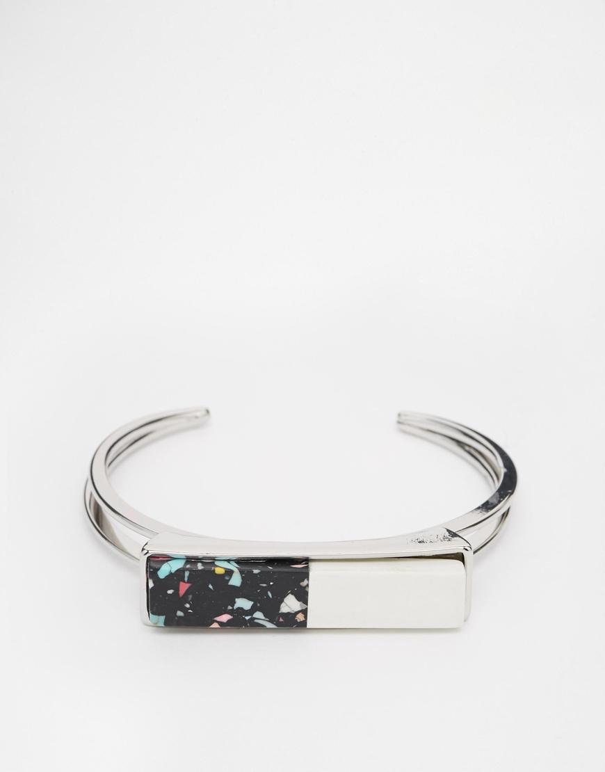 DESIGN Pack Of 2 Stone Fabric And Cuff Bracelet - Rhodium Asos d1g0slle