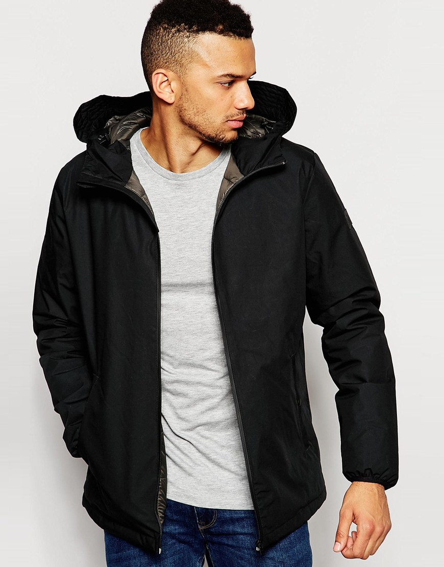 jack jones hooded jacket with quilted lining in black for men lyst. Black Bedroom Furniture Sets. Home Design Ideas
