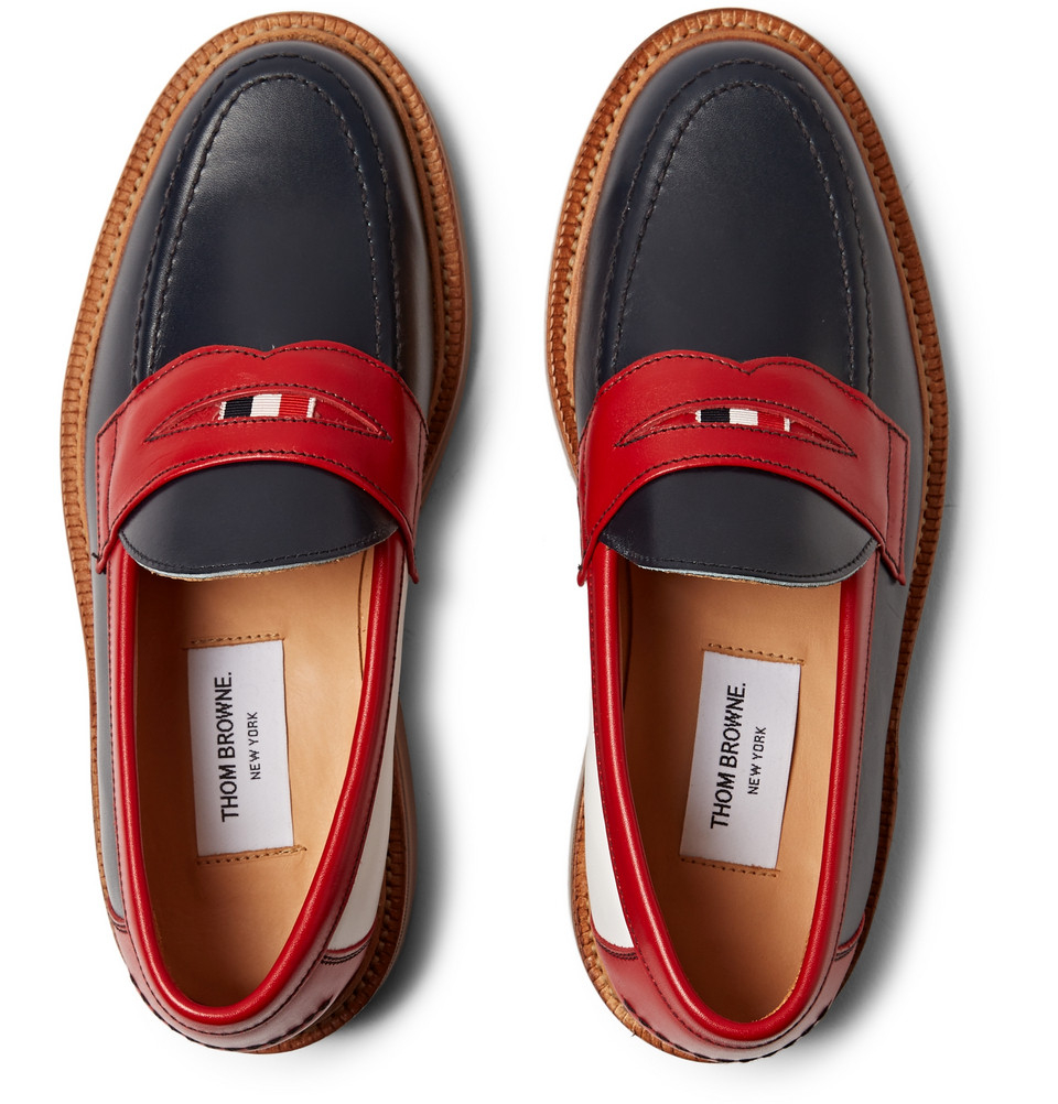 Thom Browne Leather Penny Loafers in Blue for Men - Lyst