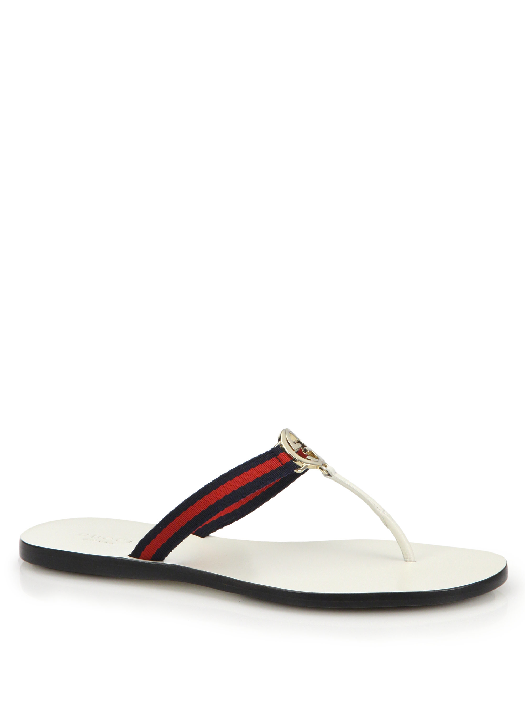 Lyst - Gucci New Gg Canvas   Leather Signature Thong Sandals in Blue 8a6d90162e17