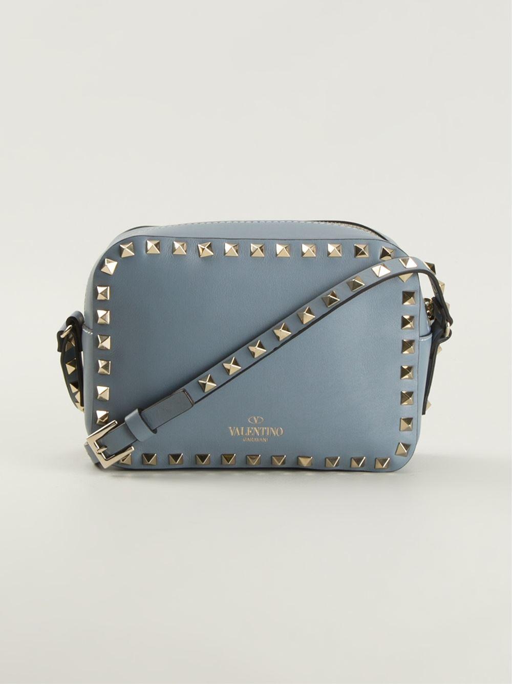 Lyst Valentino Rockstud Cross Body Bag In Blue