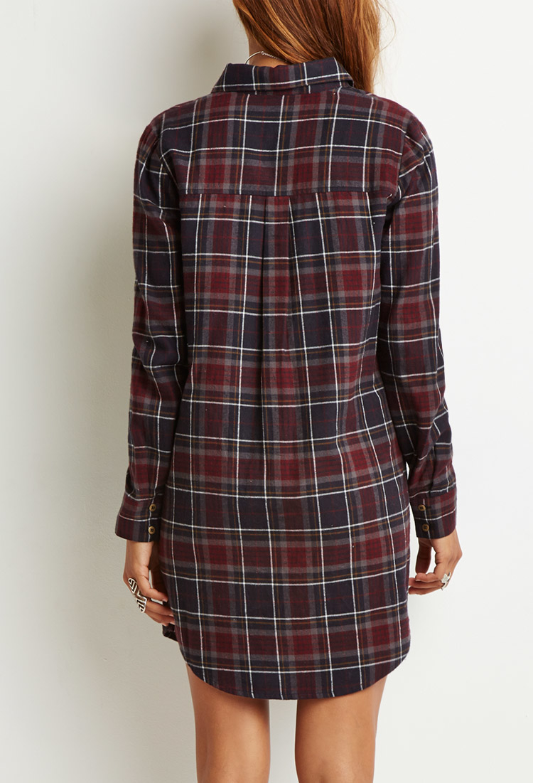 Forever 21 plaid flannel shirt dress in gray lyst for Grey plaid shirt womens