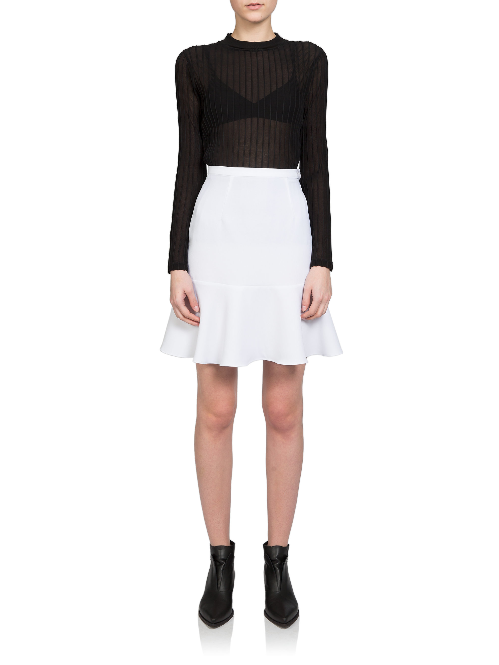 Carven High-waisted Flared Mini Skirt in White | Lyst