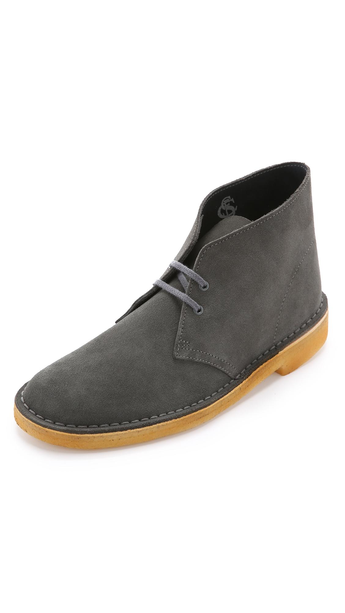Clarks Suede Desert Boots In Gray For Men Lyst