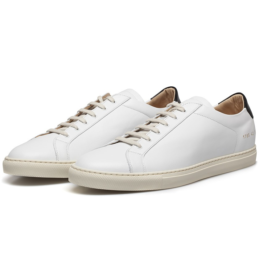 common projects white black retro leather achilles low sneakers in white for men lyst. Black Bedroom Furniture Sets. Home Design Ideas