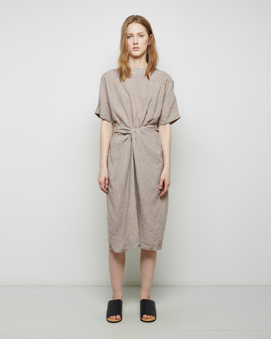 Cosmic wonder organic linen wrapped dress in brown lyst for Cosmic pattern clothing