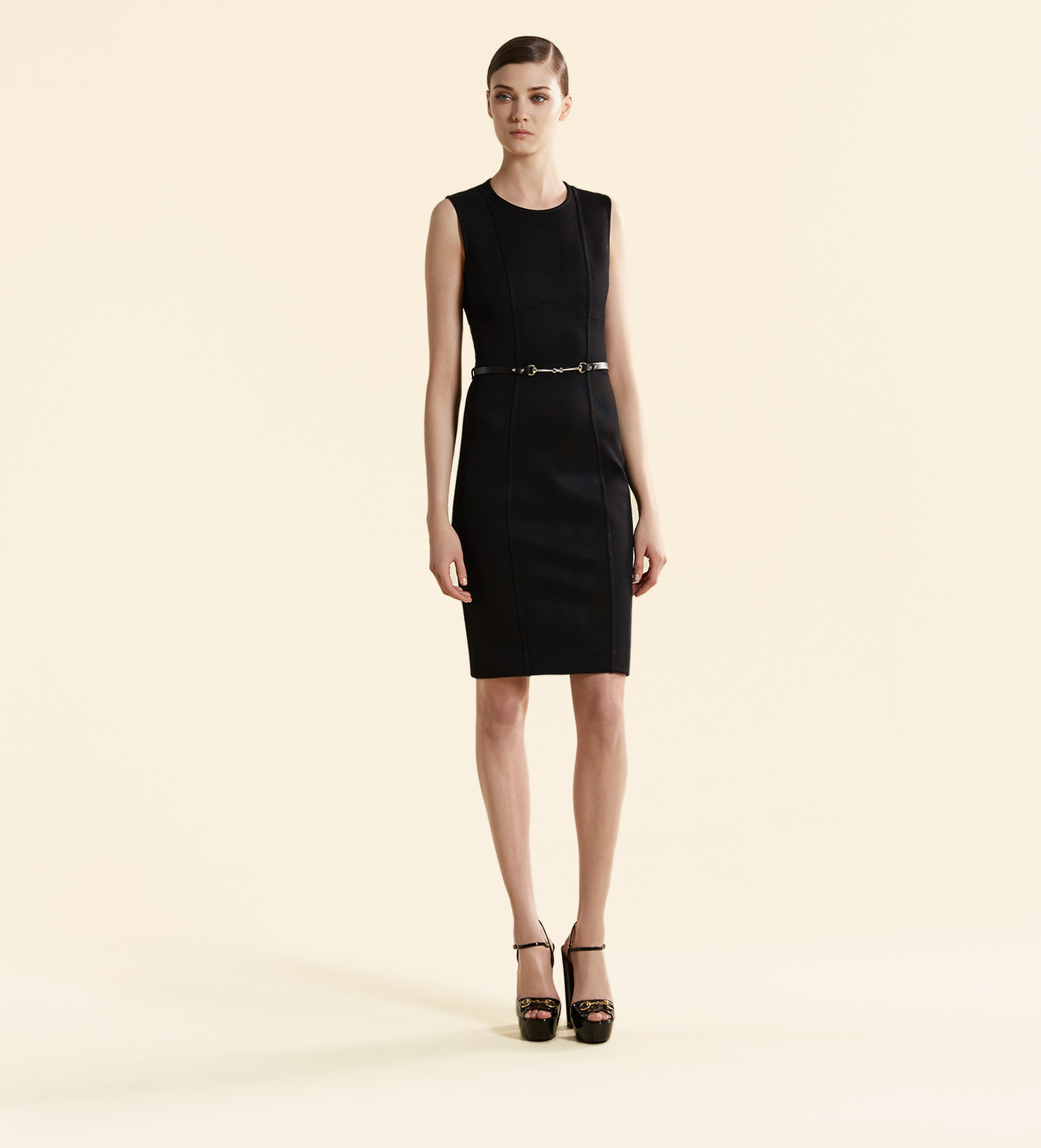 7573f4749 Gucci Viscose Jersey Belted Sleeveless Dress in Black - Lyst