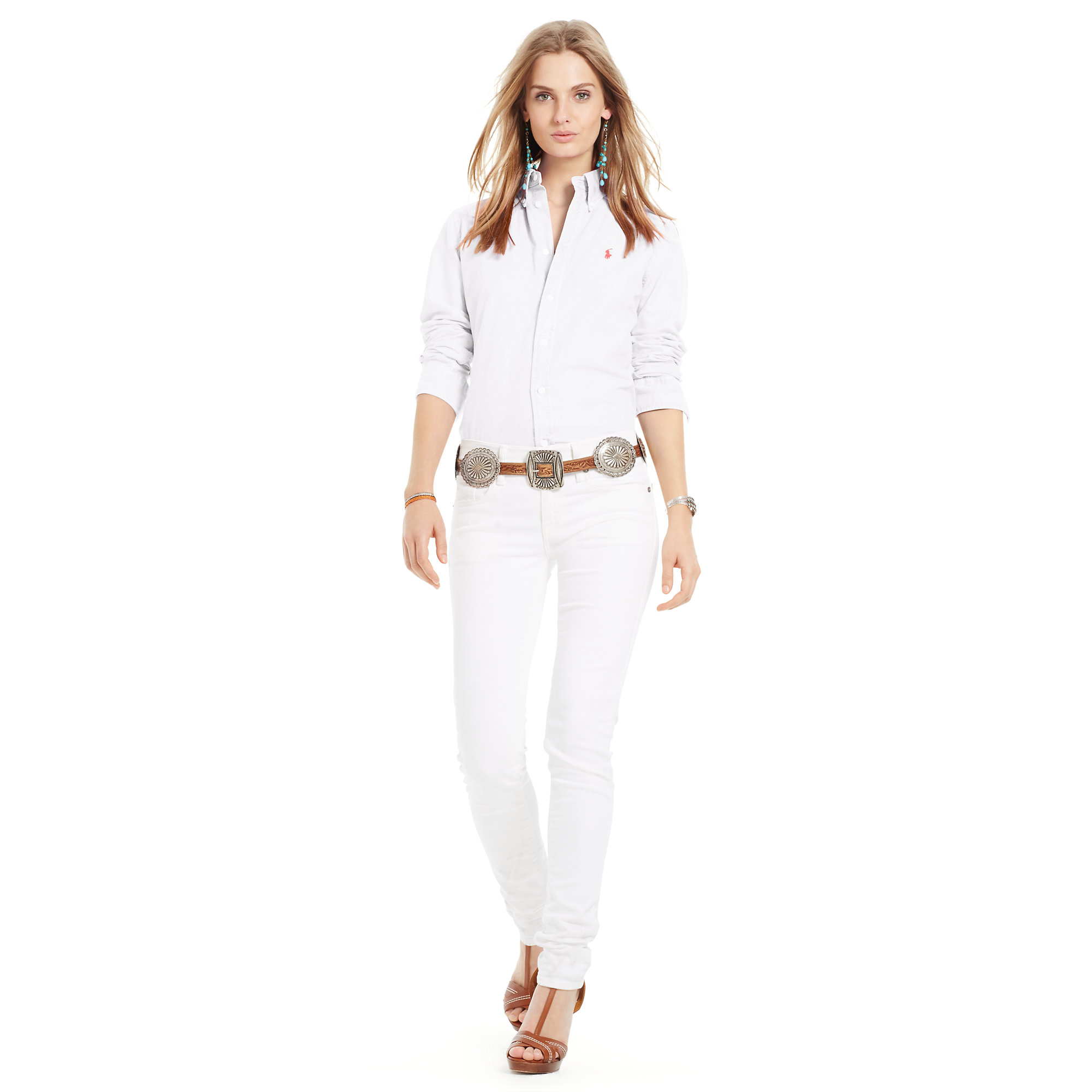 polo ralph lauren custom fit oxford shirt in white lyst. Black Bedroom Furniture Sets. Home Design Ideas