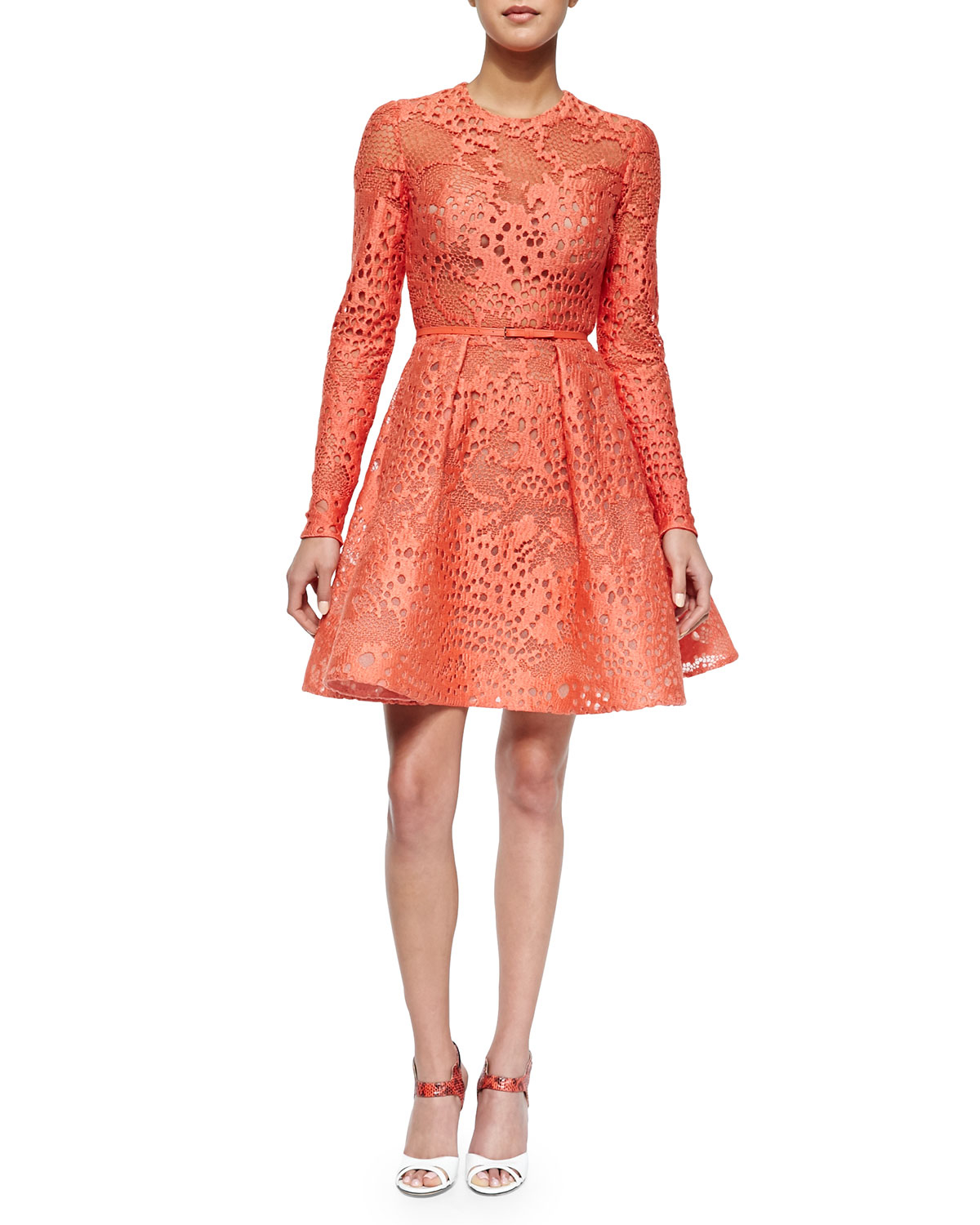 Lyst Elie Saab Long Sleeve Belted Lace Fit And Flare
