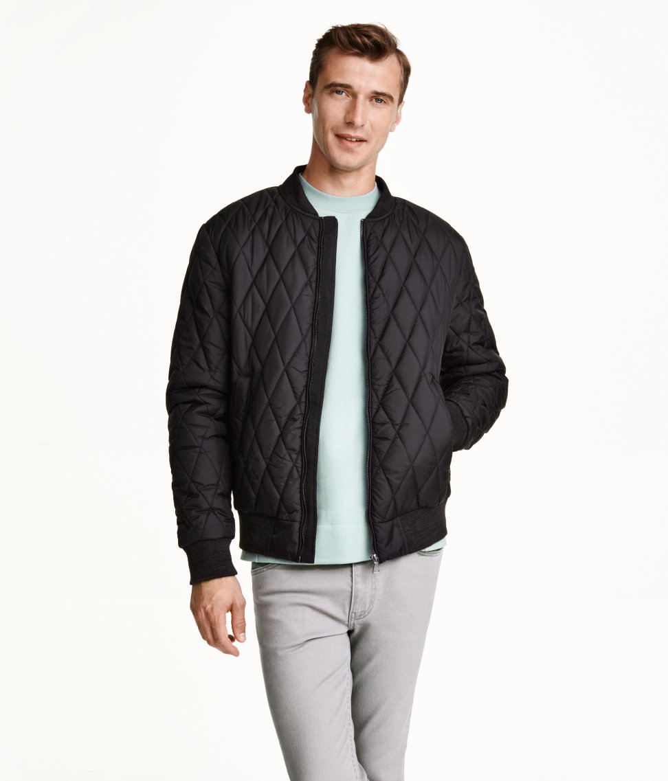 H&m Quilted Bomber Jacket in Black for Men | Lyst