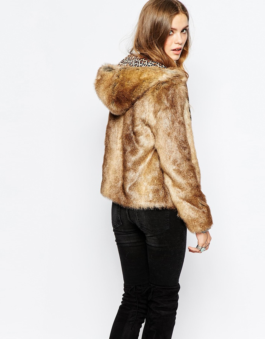 Pepe jeans Faux Fur Jacket With Hood in Brown | Lyst