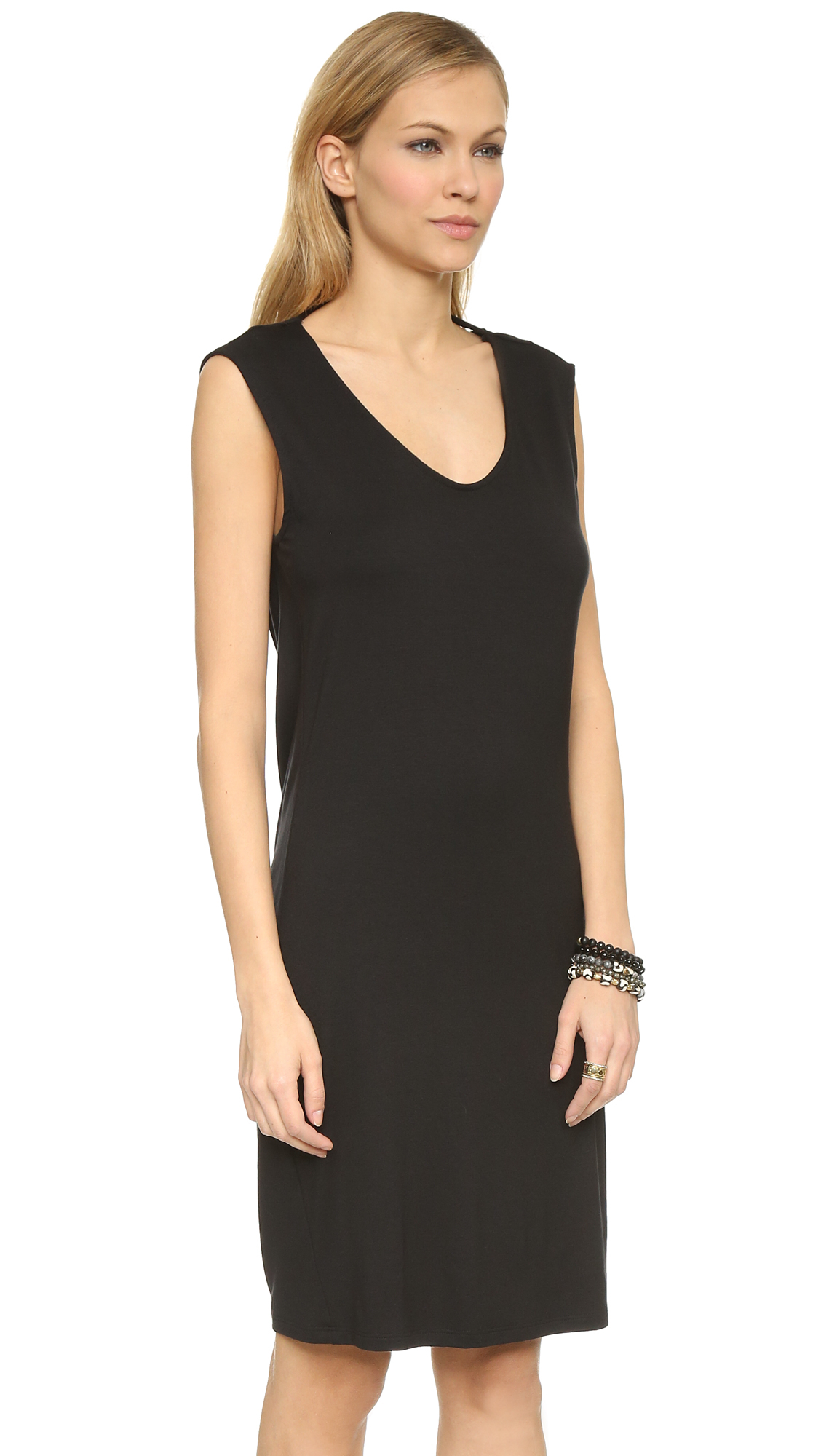 Three dots Draped Back Sleeveless Dress - Black in Black ...