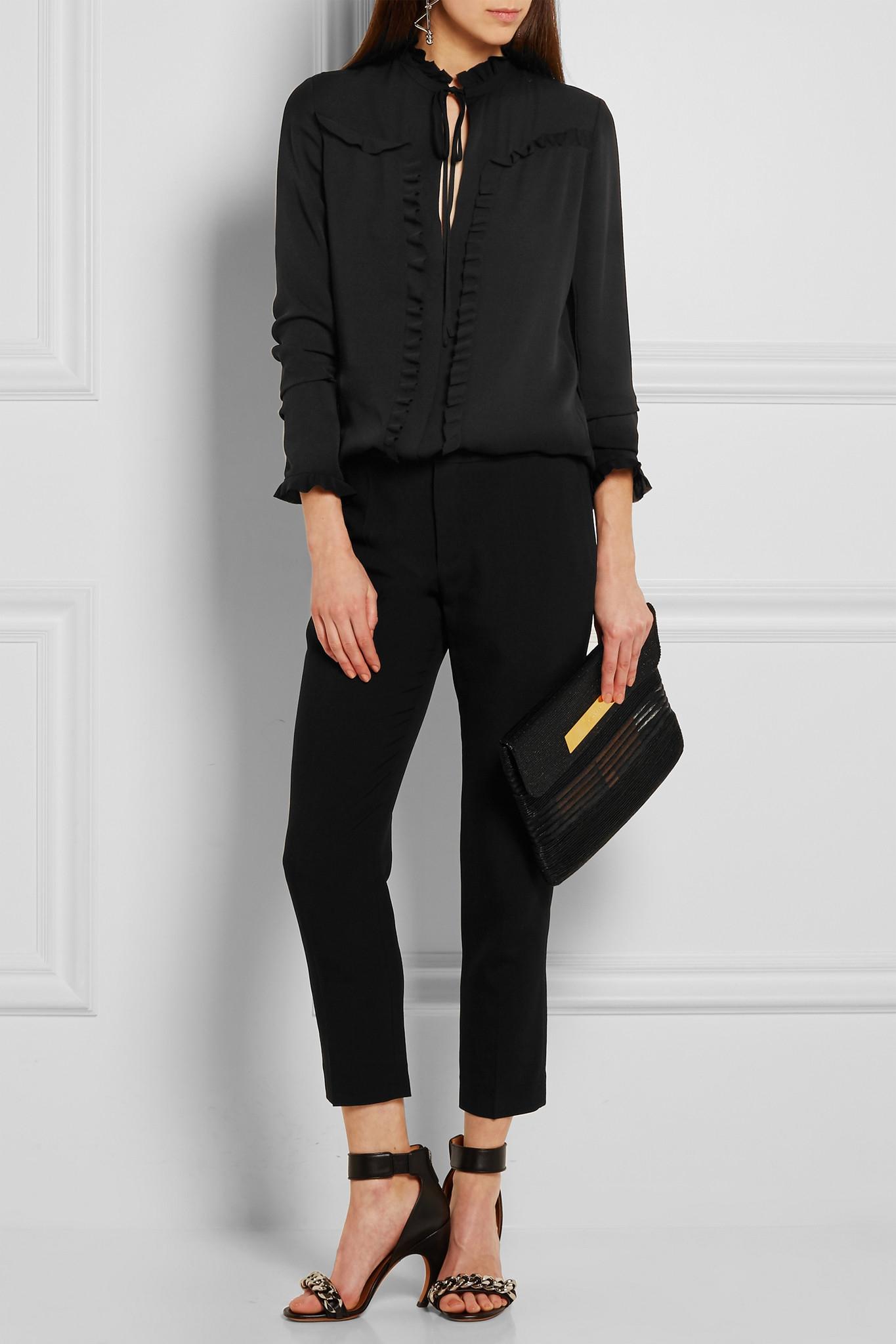 7c31f82098cd2 Balenciaga Ruffled Silk-georgette Blouse in Black - Lyst