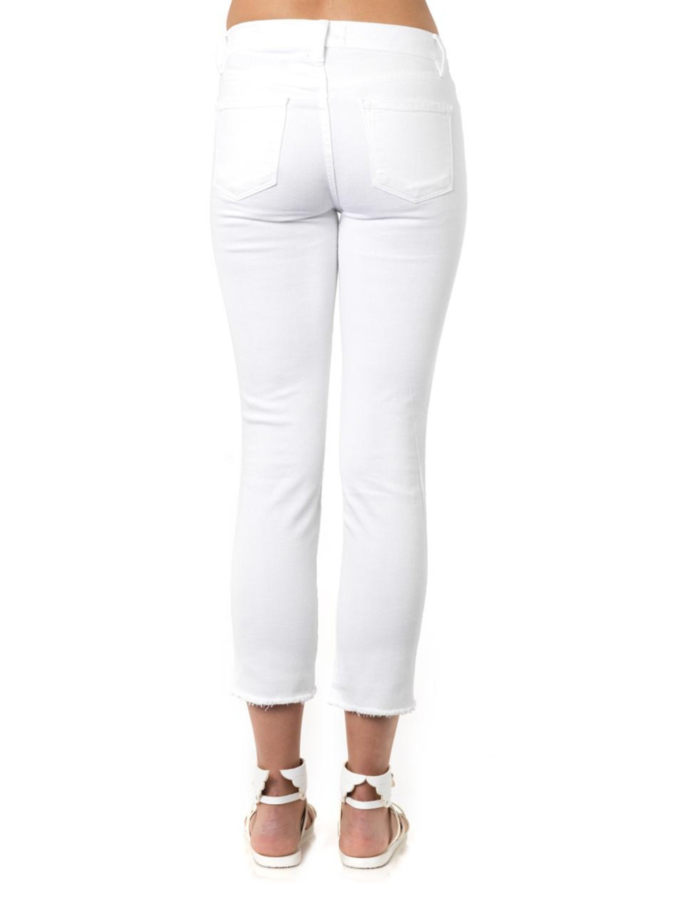 ee3d875eecad FRAME Le High Straight High-rise Cropped Jeans in White - Lyst