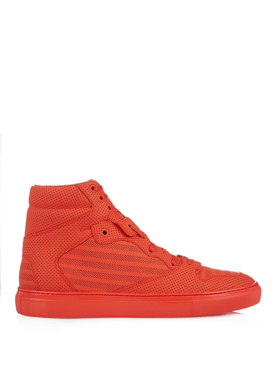 e34f59d40188b Lyst - Balenciaga Monochrome Perforated High-Top Sneakers in Pink ...