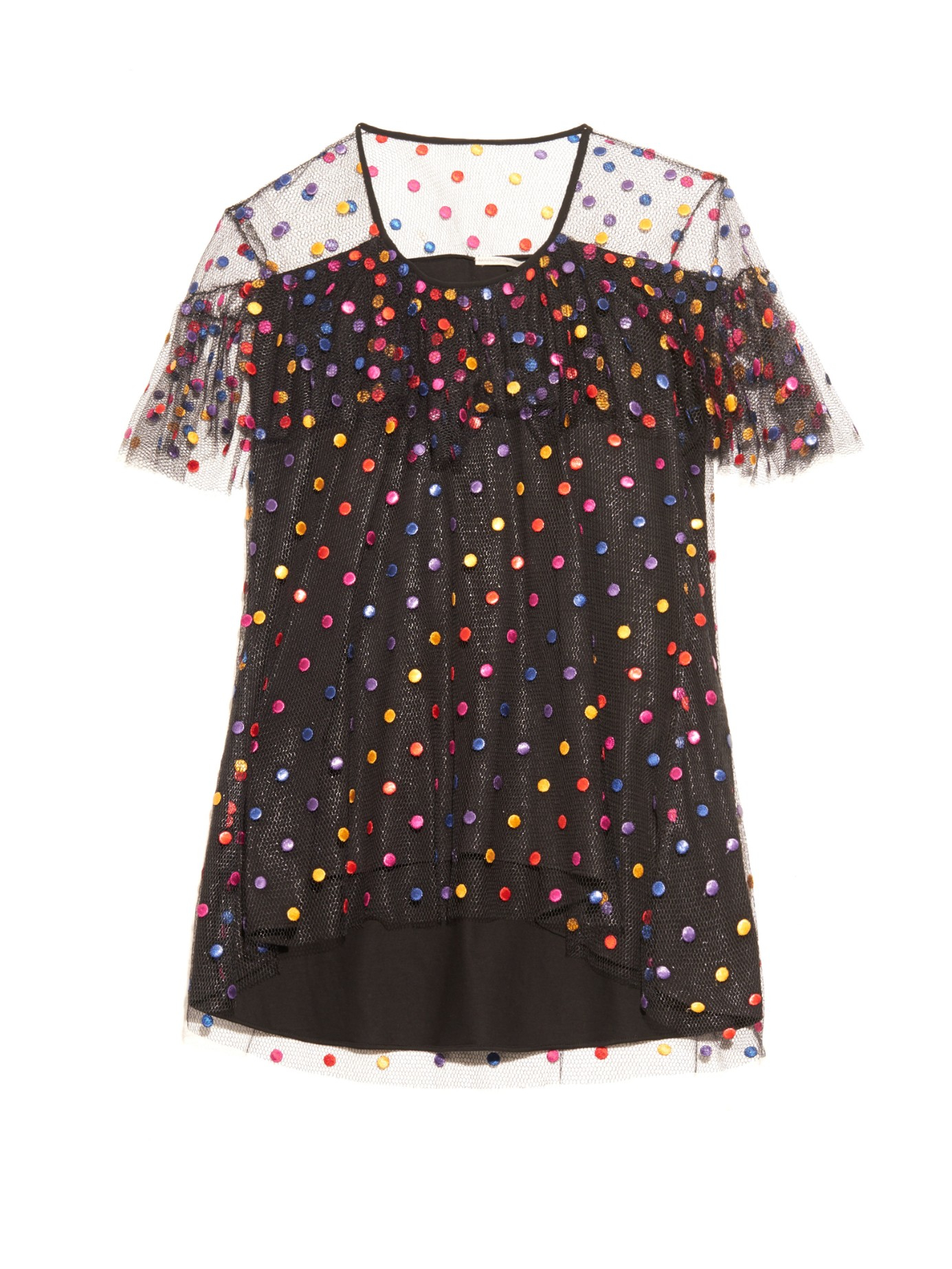 Marco De Vincenzo Polka Dot Embroidered Tulle Top In Black