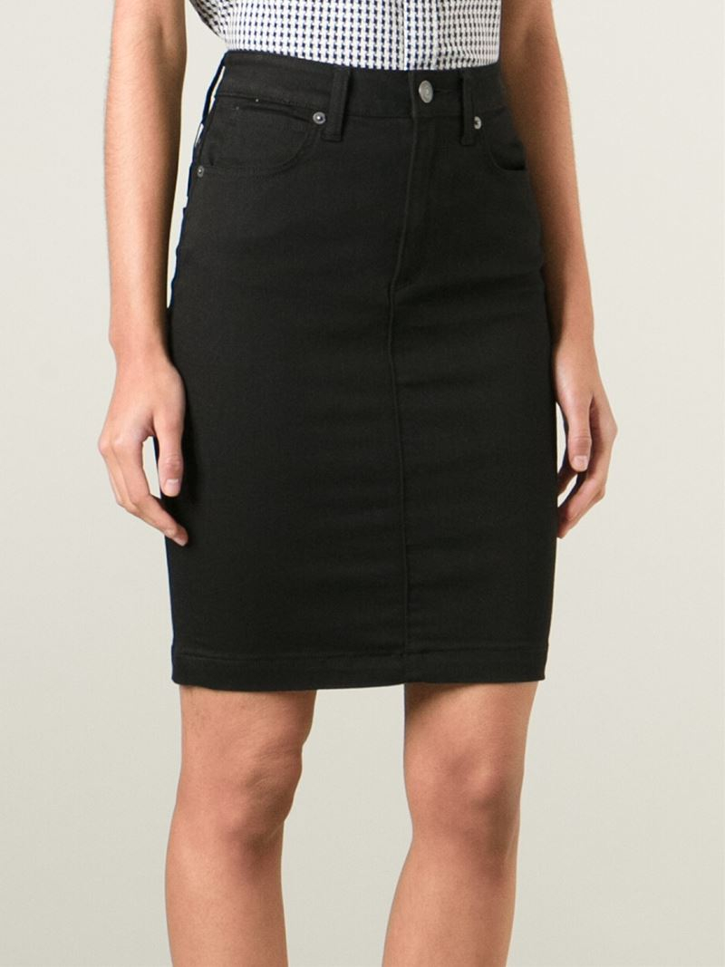 Burberry brit High Waisted Denim Skirt in Black | Lyst