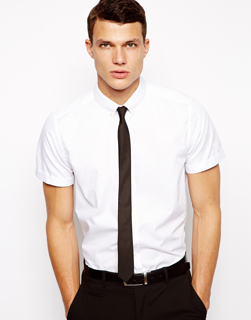Asos Smart Shirt in Short Sleeve with Button Down Collar in White ...