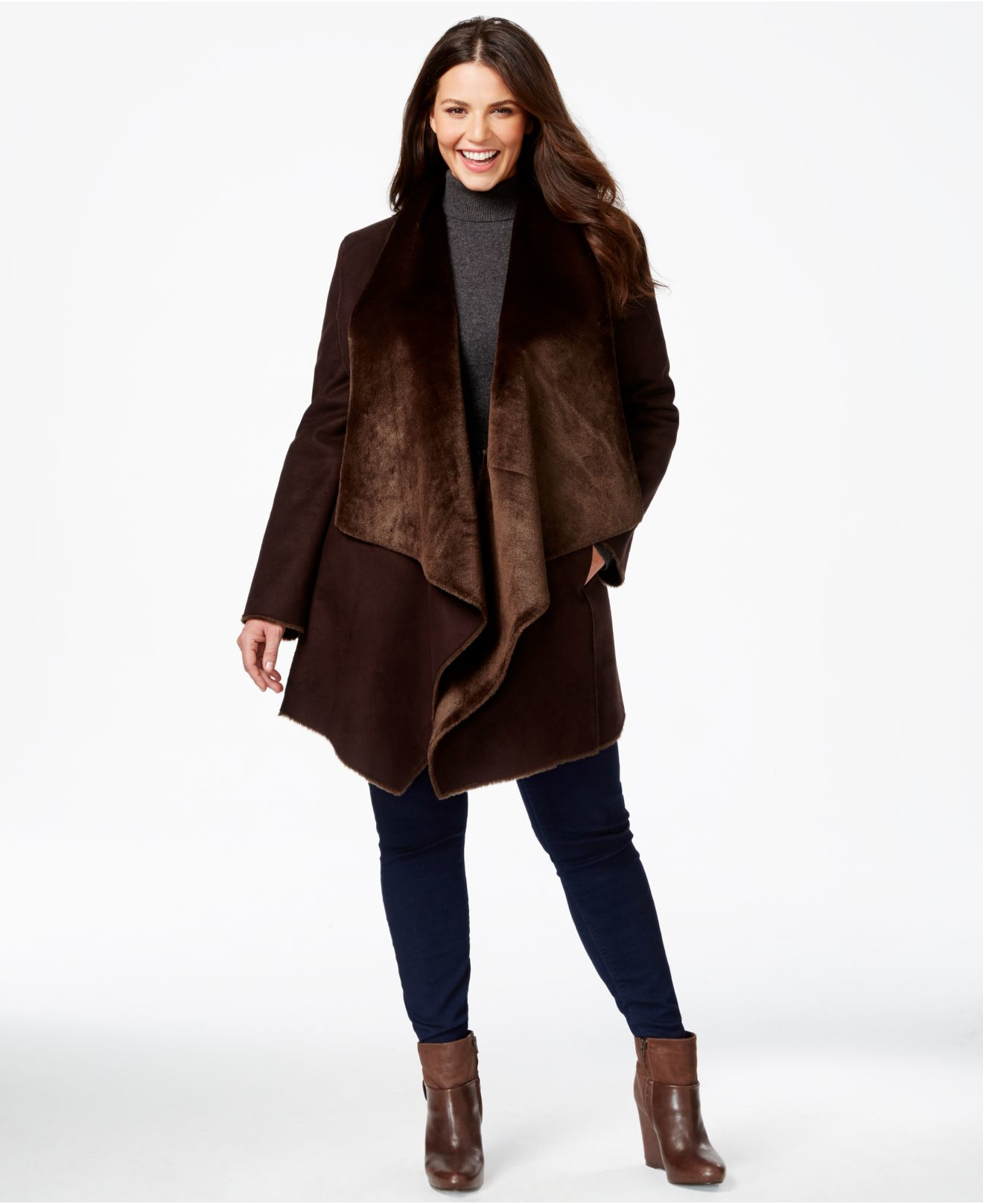 Calvin klein Plus Size Draped Faux-shearling Coat in Brown | Lyst