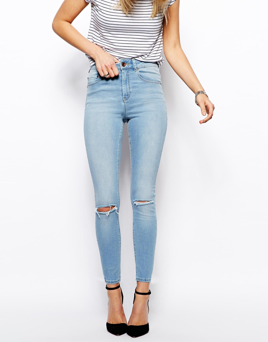 Asos Ridley Skinny Ankle Grazer Jeans In Watercolour Light Wash