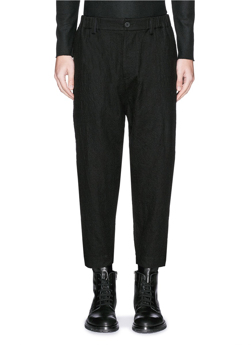 K Chen Ahaus ziggy chen elastic waist brushed wool twill in black for lyst
