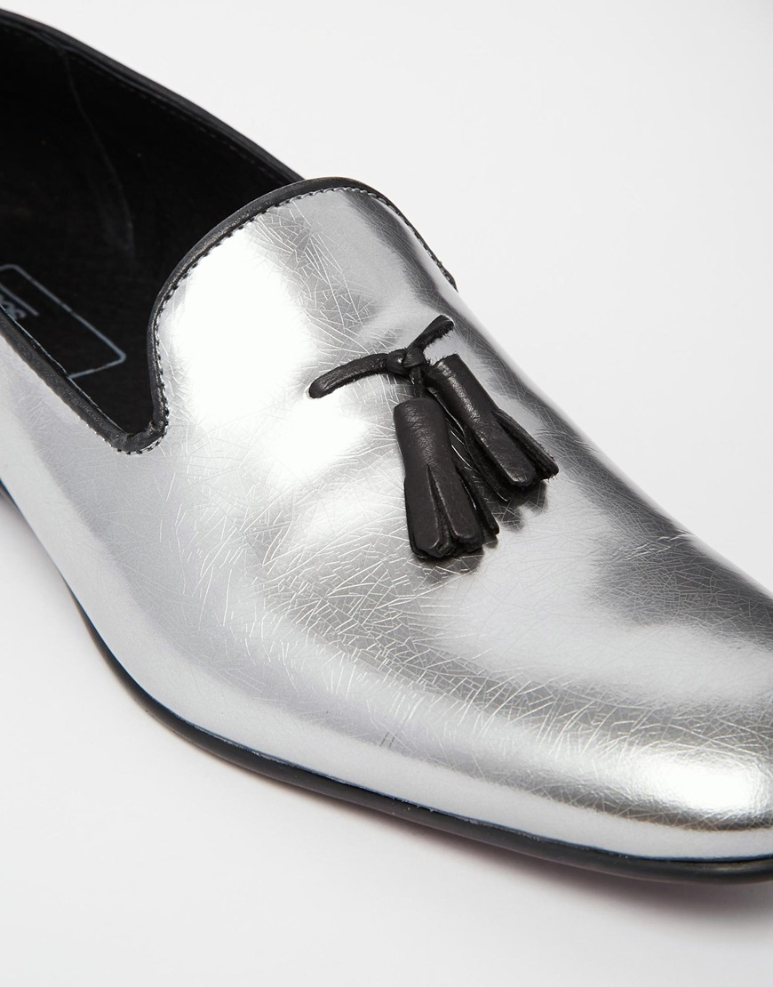 Lyst Asos Tassel Loafers In Leather In Metallic For Men