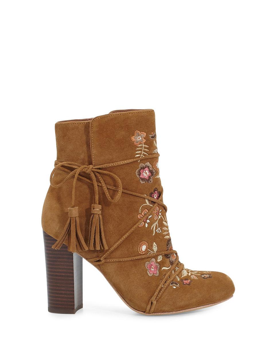 714c1debf53802 Lyst - Sam Edelman Winnie Tassel Leather Booties in Brown