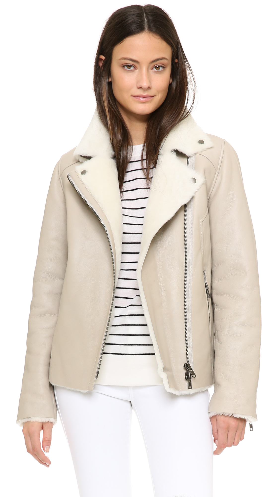Just female Move Shearling Jacket - Creme in Natural | Lyst